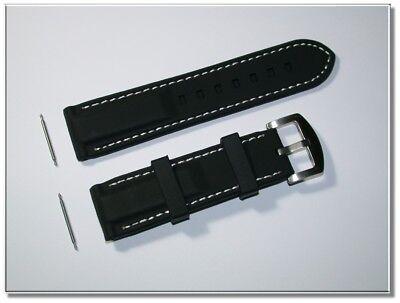 Schwarz/weiße-naht 20mm Breit Ca Klassik Silikonuhrenarmband 3,5mm D. 5460