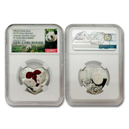 China 2019 Valentine Panda 9 grams Silver NGC PF70 ULTRA CAMEO SKU# 7092