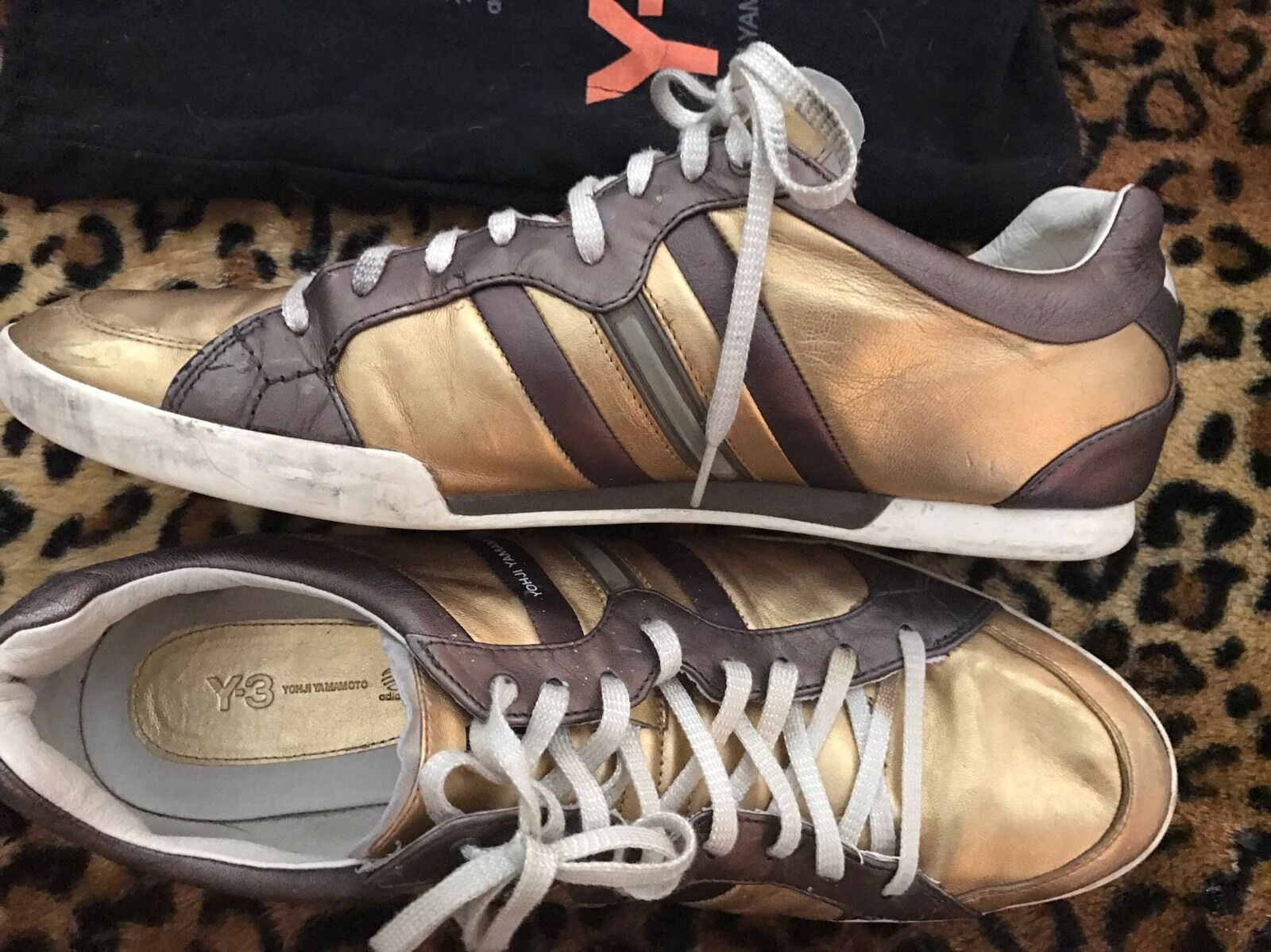 Auth Yohji Yamamoto Y3  Shoes 11.5 Uk Gold Brown