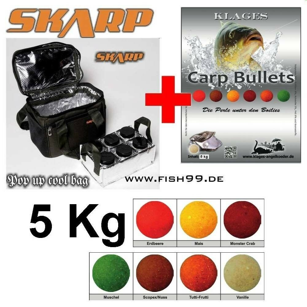 5 KG Boilies Carp Bullets Tutti Frutti + SKARP Pop up Cool Bag