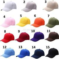 New Plain Baseball Cap Solid Color Blank Curved Visor Hat Adjustable Hip Hop Cap