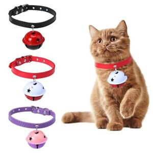 Adjustable-Pet-Cat-Kitten-Puppy-Small-Dog-Bell-Collar-Strap-PU-Leather-Collar