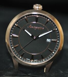 a1181f6d875 New Montegrappa Swiss Fortuna Black Dial Rose Tone Stainless Steel ...