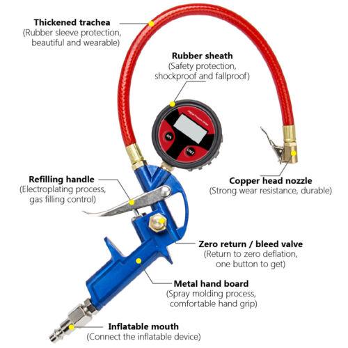 150PSI Digital Lock On Tire Inflator Air Pressure Gauge Pistol Chuck LCD Backlit