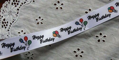 Sheer Satin Cotton 20-38mm 3Mtr Length 5 Choice CL HAPPY BIRTHDAY Print Ribbon