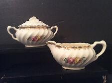 Vintage porcelain covered sugar bowl & creamer ribbed floral design sponged gold