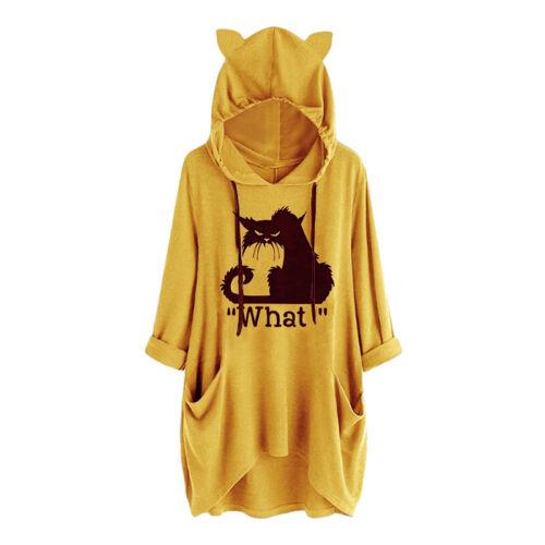 Frauen Katzen Druck Mit Kapuze Sweatshirt Lose Pullover Oberseiten Übergroße