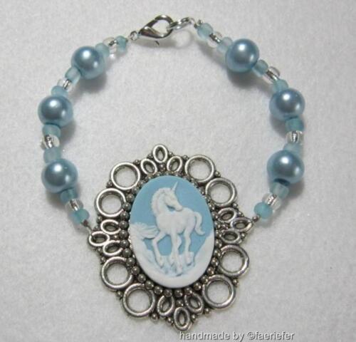 Mythical Unicorn or Fairy cameo bracelet pearl glass beads you choose colour