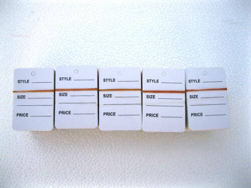 "1-1//4/"" W X 1-7//8 H  White  Garment  Price Hanging  Lables  Tags 500 PCS"