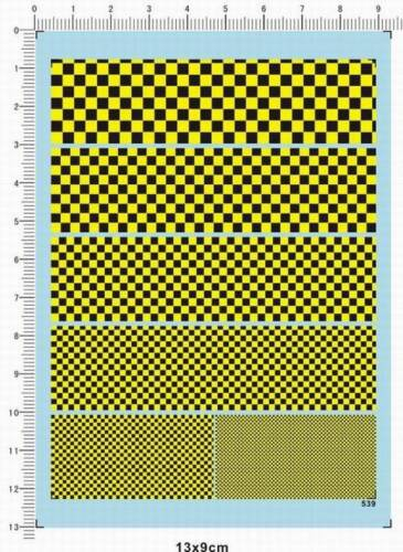 1//43 1//24 1//12 F1 Black Yellow chequered flag Grid danger caution Model Decal