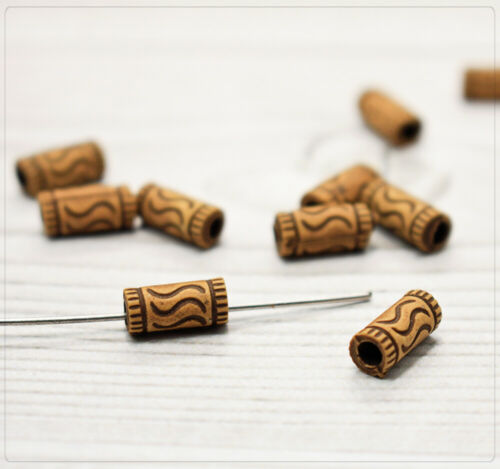 30x Acryl Perlen Holzimitat Beads Spacer Röhre Muster antik Schmuck DIY 11x5mm