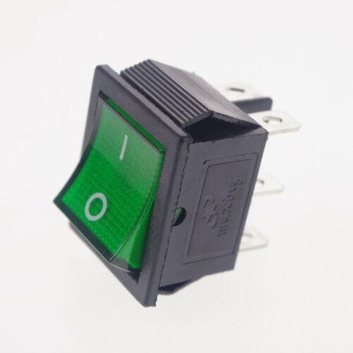 10 x Green Light DPDT ON//OFF 6 Pin Rocker Boat Switch KCD4-202N