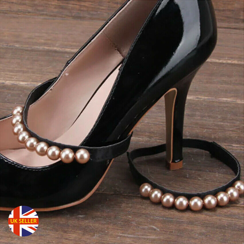 1 Pair Hold Loose Heels Shoes Pearl Buckle Pearls Band Elastic Anti-Slip Straps