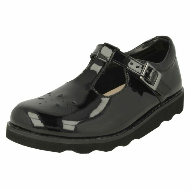 f9bf6cbe6074 Grils Clarks Buckle T-bar School Shoes Crown Wish Black Patent UK 12 ...