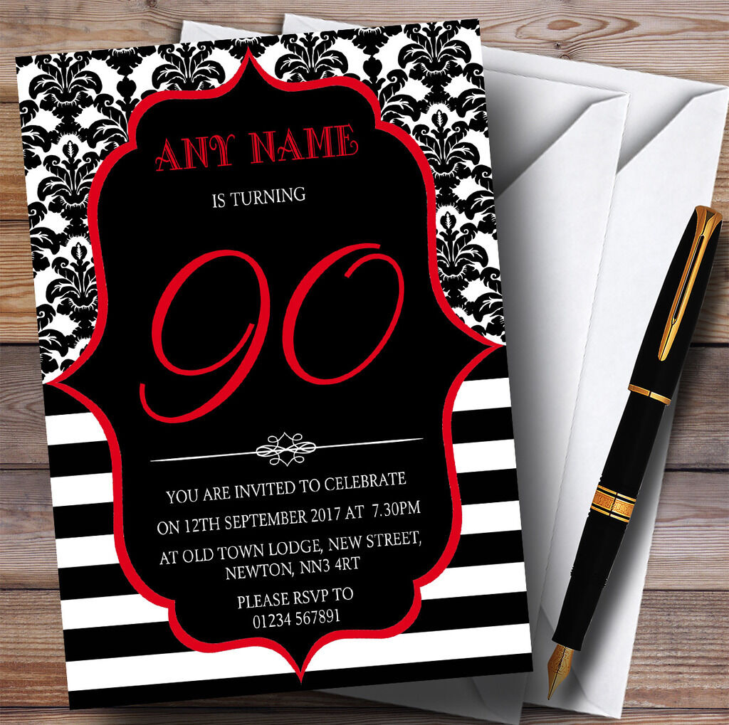 Vintage Damask rot 90th Personalised Birthday Party Invitations