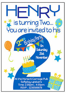 Image Is Loading Personalised 2nd Birthday Party Invitations Girls Amp Boys