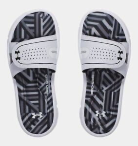 4e1c511ebae Women Under Armour UA Ignite Maze VIII Slides Sz 6 - 11 White Black ...