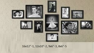 11pcs Wooden Photo Frame Wall Hang Decor Collage Large Small