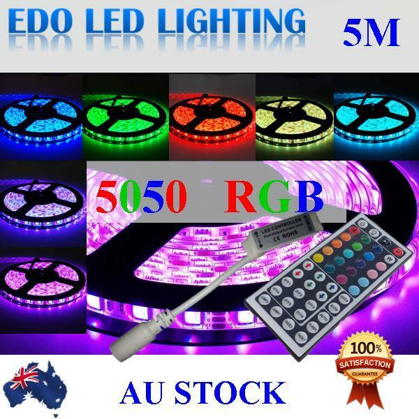 5 x 5050 RGB 5M 300 LED Strip Light 12V Waterproof + 4 x Rgb signal amplifier