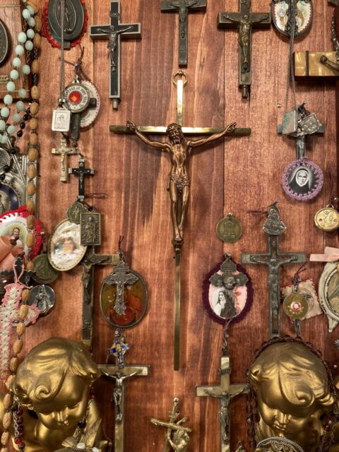 "Antique Brass 1960 Catholic Church 10"" Crucifix Nuns Altar GERMANY Vtg Religious"