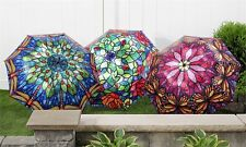 1st Stained Glass Tiffany Dragonfly Satin Shimmer Wooden Cane Umbrella