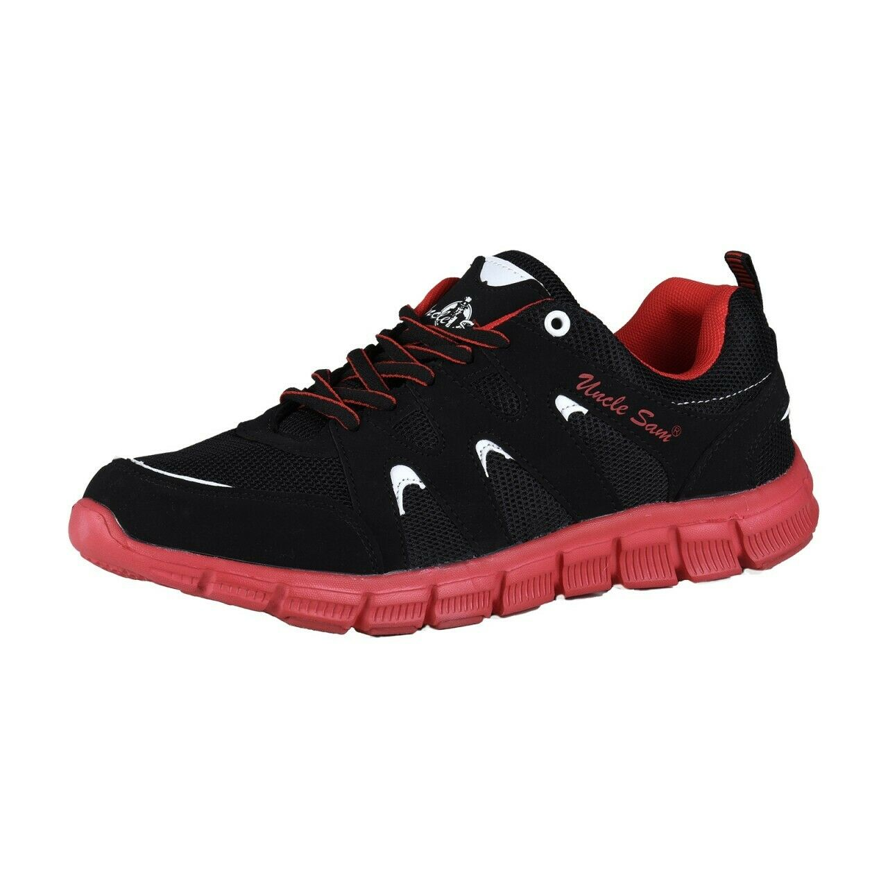 Uncle Sam Men's Lightweight Running shoes Sneakers Trainers Jogging Black Red