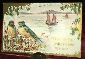 Antique-German-Christmas-Postcard-Trade-Mark-Series-2046-Birds-Sailboat-Holly