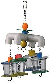 DICKY-BIRD-TOYS-4-WAY-FORAGER-PVC-PARROT-ENRICHMENT-CAGE-TOY-PLUS-FREE-GIFT