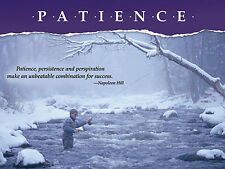 Fly Fishing in Winter PATIENCE Motivational Poster Print (Napoleon Hill Quote)
