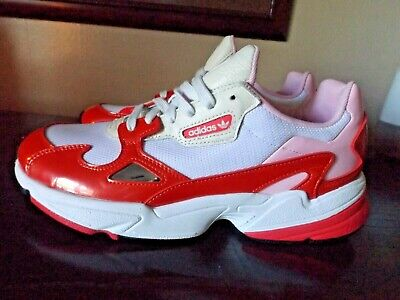 NWOB! ADIDAS Crystal White Shock Red Pink FALCON EE3830 Running Lace Shoes 10.5 | eBay