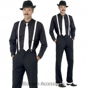 CL183-Gangster-Instant-Kit-1920-039-s-Mens-Costume-Hat-Tie-Spats-Braces-amp-Moustache