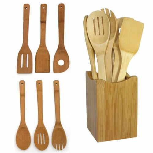 6 Stk Bambus Löffel Spachtel Mischen Set Utensil Set Küche Holz Kochwerkzeuge