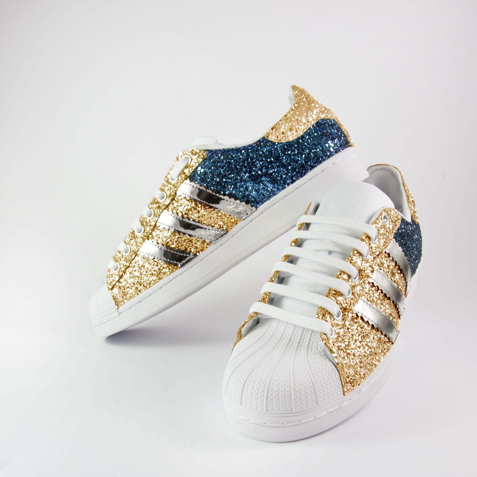 Scarpe adidas e superstar con glitter oro e adidas blu piu' specchiato argento 7017fd