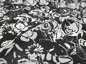 10-Metros-Negro-Y-Blanco-Abstracto-Estampado-Floral-Vestido-De-Verano-tela-147cm