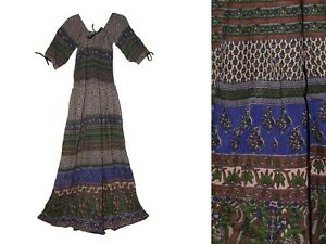 Indian-Dress-Rayon-Retro-Boho-Ehs-Vestir-Ethnic-Hippy-Blusa-Vintage-Retro-Women