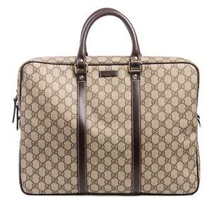 Gucci-Signature-Briefcase-NO-STRAP-Brown-Dark-leather-fabric-Guccisima-Italy-New