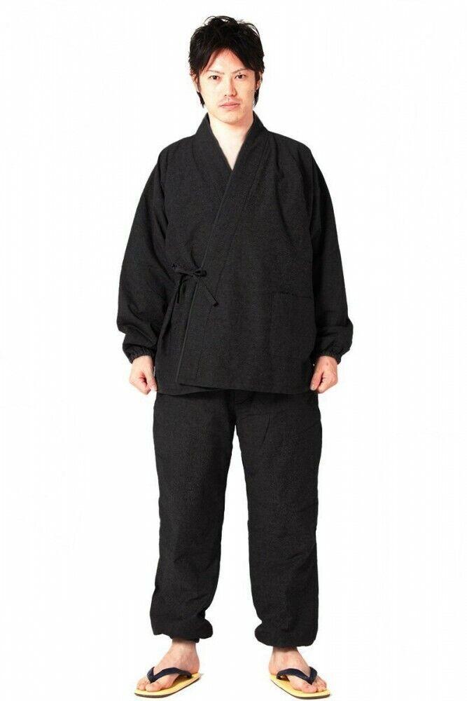 Men's Samue BlackJapanese traditional work wear for winter warm wear any size