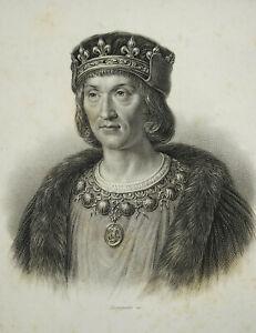 Gravure XIXe portrait du Roi Louis XII ed Furne Paris graveur Bourgeois sc 24 cm