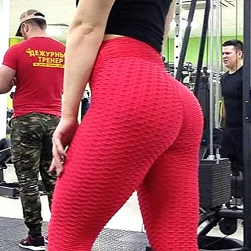 Womens Yoga Gym Anti-Cellulite Leggings Push Up Fitness Sports Pants Sportswear