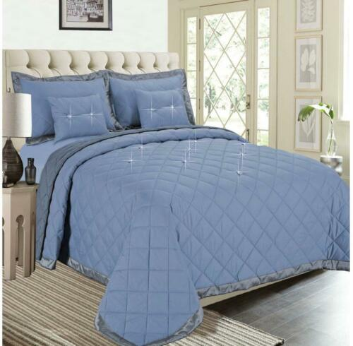 Bedspread  quilted 5PCs Daimond reversible bed throw comforter With 2 cushions