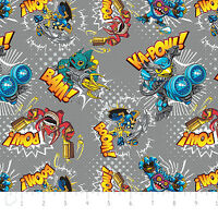 Camelot Skylanders Action In Stone Grey 100% Cotton 44 Fabric By The Yard