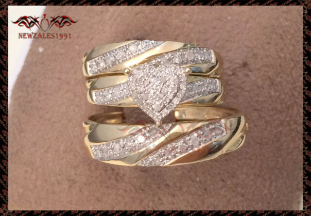 14K Yellow Gold Over His Her Heart Shape Diamond Wedding Bridal Trio Ring Set