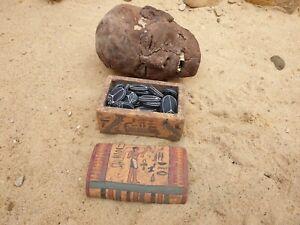 Rare Antique Ancient Egyptian Wood OUSHEBTI Box 23 yeux + 1 OUSHEBTI 2480 avant Jésus-Christ