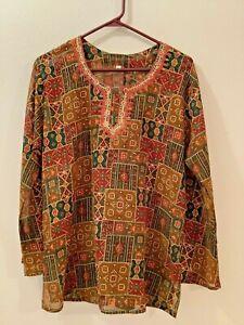 PALIKA-BAZAAR-India-Womens-Blouse-Semi-Sheer-Red-Green-Hand-Embroidered-Trim