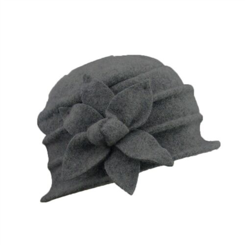 Women/'s Ladies Winter Vintage Elegant Wool Flower Felt Hat Cloche Bucket Cap