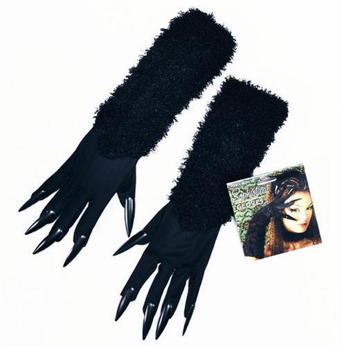Black cat woman fancy dress costume gants et griffes halloween sorcière vampire