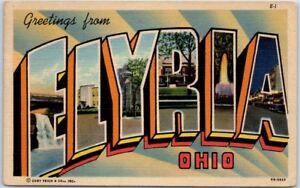 ELYRIA-Ohio-Large-Letter-Postcard-Multi-View-Curteich-Linen-w-1953-Cancel