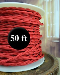 RED Cloth Covered Twisted Wire 50ft Roll - Lamp Cord - Antique Fan Rewire