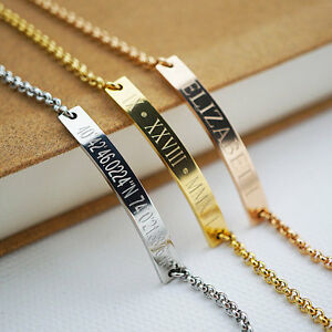 Image Is Loading Personalized Bracelet Name Bar Custom Engraved Any