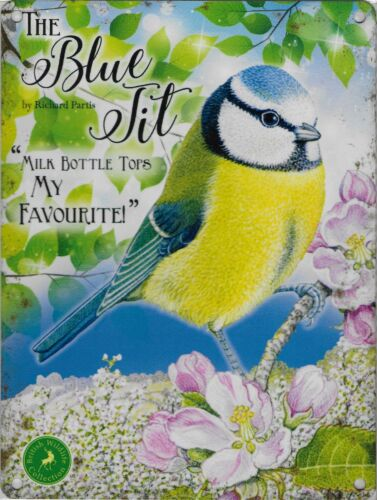 """New 15x20cm Blue Tit /""""Milk Bottle Tops My Favourite/"""" metal picture wall sign"""